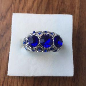 18K White gold filled three 1 carat Blue sapphire